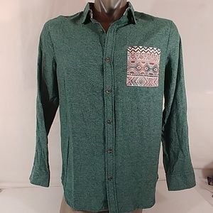 On The Bays Green Button down